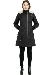 Ladies' Long HoodLamb Coat - Black - Hoodlamb