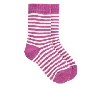 Gestreifte Kinder Bio Socken pink - VNS Organic