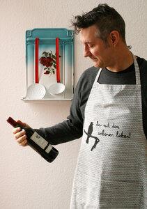 Handgwebte graugemusterteFair-Trade-Kochschürze 'her mit dem schönen Leben' sagt die Amsel  - Hirschkind