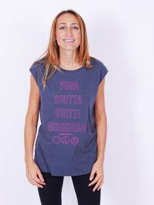 "Yoga Sleeveless Shirt ""Yoga Chitta Vritti Nirodhah"" grau / pink - YogiCompany"