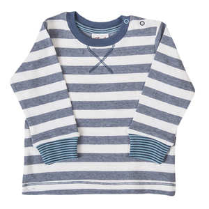Langarmshirt - blau gestreift - People Wear Organic