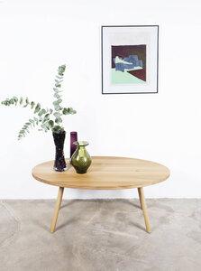 Kaffeetisch Eiche, Großes Naturholz, Tischplatte Eiche auf Holzbeinen - Hardman Design & Build