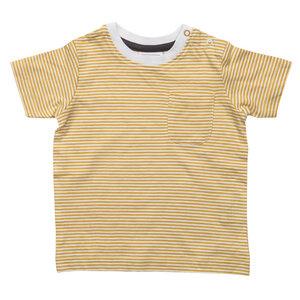 Kurzarmshirt - gelb gestreift - People Wear Organic