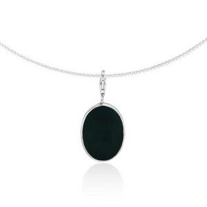 Silber Kette ovaler Obsidian Fair-Trade und handmade - pakilia