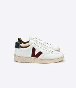 V-12 LEATHER EXTRA WHITE MARSALA NAUTICO - Veja