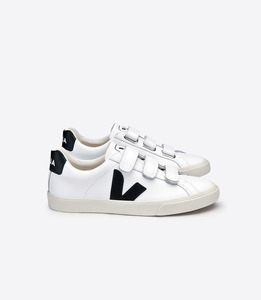 ESPLAR 3-LOCK LEATHER EXTRA WHITE BLACK - Veja