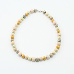 """""""Dotter', Collier aus Kazuri-Keramikperlen, handgeformt und -bemalt - steinfarben"""