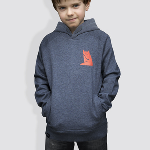 Kinder Hoodie, 'Fuchs', Mid Heather Blue - little kiwi