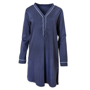 Nachthemd aus Baumwollsatin dunkelblau - People Wear Organic