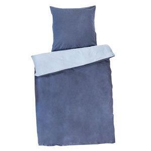 Wendebettwäsche aus Baumwollsatin dunkelblau 135x200cm / 80x80cm - People Wear Organic