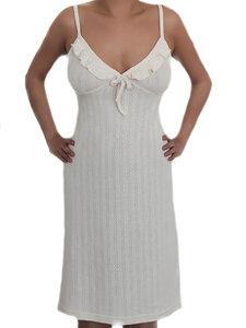 Damen Nachthemd Bio-Baumwolle Jaquard Schlafanzug Nachtwäsche Pyjama - Albero