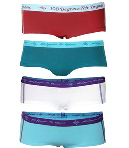 4er Mix Damen Hot Pants GOTS petrol / chili / aqua / white - 108 Degrees