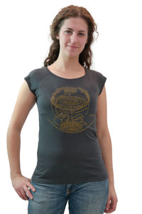 """Bio-Bambus-Viskose Shirt """"Weltenesche"""" - Peaces.bio - EarthPositive® - handbedruckt"""