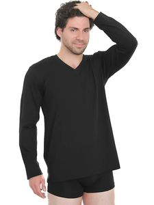 Herren Langarmshirt Bio-Baumwolle V- Neck T-Shirt schwarz grau - Albero