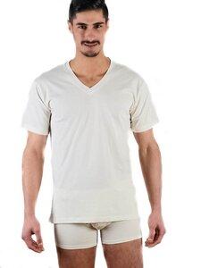 Herren Kurzarm T-Shirt Bio-Baumwolle V-Neck Unterhemd schwarz grau - Albero