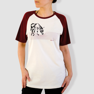 "Damen T-Shirt, ""Eselchen"", Burgundy/Vintage White - little kiwi"