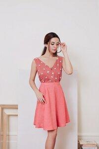 Daisy Linen Skirt - Raspberry - Meemoza