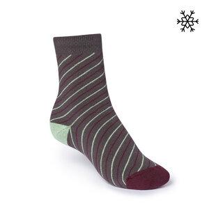 Plüsch Socken Thin Striped High-Top grau/mint/rot Bio & Fair - THOKKTHOKK