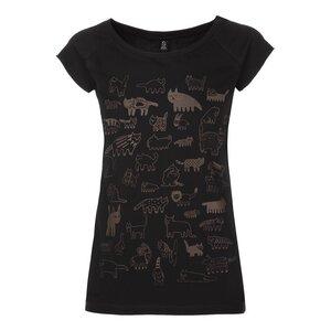 90Cats Cap Sleeve T-Shirt Damen braun/schwarz Bio & Fair - THOKKTHOKK