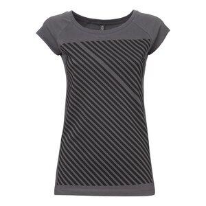 Striped Cap Sleeve T-Shirt Damen schwarz/dunkelgrau Bio & Fair - THOKKTHOKK