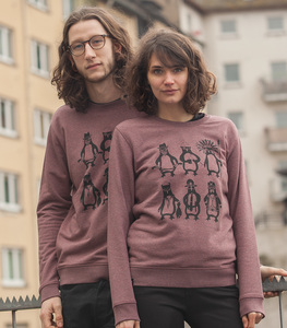 päfjes - Unisex Sweater - YMCA Pinguine - Black Heather Cranberry - päfjes