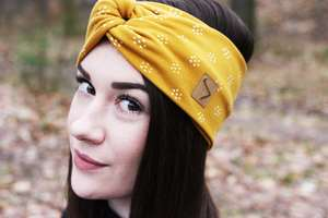 Stirnband im Turbanlook - Yellow Flowers Sweat - dreisechzig