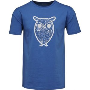 T-Shirt with Diagram Owl Print Strong Blue - KnowledgeCotton Apparel
