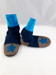 Gr. 36/37 Schuhe aus Wolle mit Ledersohle, Hüttenschuhe  - Süßstoff