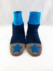Gr. 34/35 Schuhe aus Wolle mit Ledersohle, Hüttenschuhe  - Süßstoff