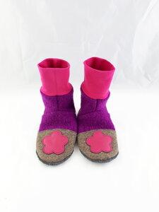 Gr. 32/33 Schuhe aus Wolle mit Ledersohle, Hüttenschuhe  - Süßstoff