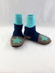 Gr. 30/31 Schuhe aus Wolle mit Ledersohle, Hüttenschuhe  - Süßstoff