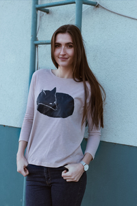 Fuchs Women Scoop Neck Long Sleeve Fair Wear & organic _nude melange - ilovemixtapes