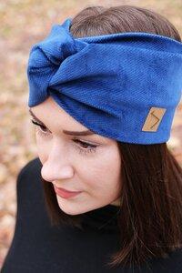 Stirnband im Turbanlook - Royal Blue Cord - dreisechzig