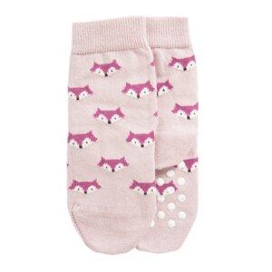 Kindersocken mit Noppen Biobaumwolle Fuchs rosa - VNS Organic