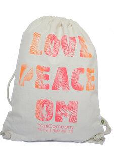 Großer Turnbeutel natur 'Love Peace Om' Palmschrift pink orange - YogiCompany