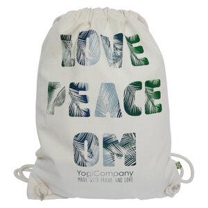 Großer Turnbeutel natur 'Love Peace Om' Palmschrift grün blau silber - YogiCompany
