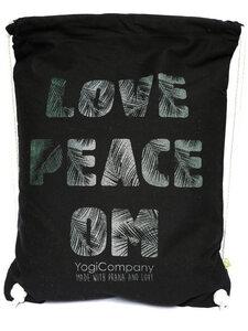 Großer Turnbeutel schwarz 'Love Peace Om' Palmschrift grün silber - YogiCompany