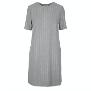 Kleid - GRAZIA Dress - Grey Pinstriped - Frieda Sand