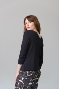 PEARL - 3/4 Sleeve Top - Black - Frieda Sand
