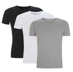 3er Pack Men's Organic Slim Fit T-Shirt - Schwarz/Weiß/Grau meliert - Continental Clothing