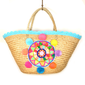 Basttasche Mandala blau - Just Be