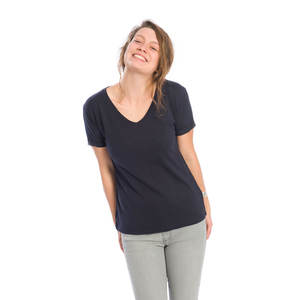 Basic V-Neck Damen Navy Flamé - bleed