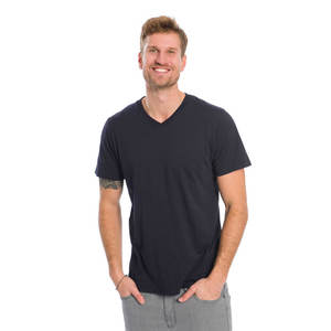 Basic V-Neck T-Shirt Navy Flamé - bleed