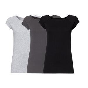 3er Pack TT01 Cap Sleeve T-Shirt 2.0 Damen Hellgrau/Dunkelgrau/Schwarz - THOKKTHOKK