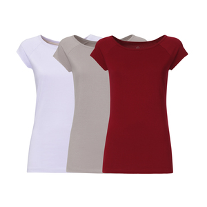 3er Pack TT01 Cap Sleeve T-Shirt 2.0 Damen Lila/Grau/Rot Bio & Fair - THOKKTHOKK