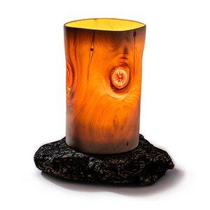 Tischleuchte 'Cembra' aus Zirbenholz und Naturstein - 4betterdays