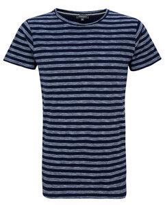 Men Henley Raglan Shirt - Striped Navy - Naturaline