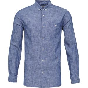 Cotton/Linen Shirt GOTS Strong Blue - KnowledgeCotton Apparel