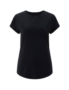 Womens rolled up sleeve organic - Stone Black - Continental Clothing