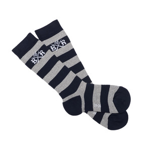 Lange Kinder Socken (Navy-Grey Mel striped) - Band of Rascals